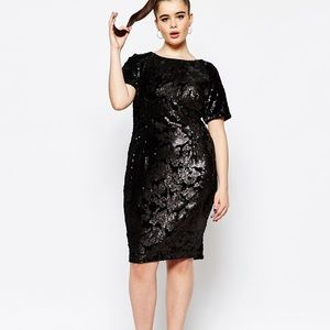 Missguided Velvet & Sequin Black Sheath Dress